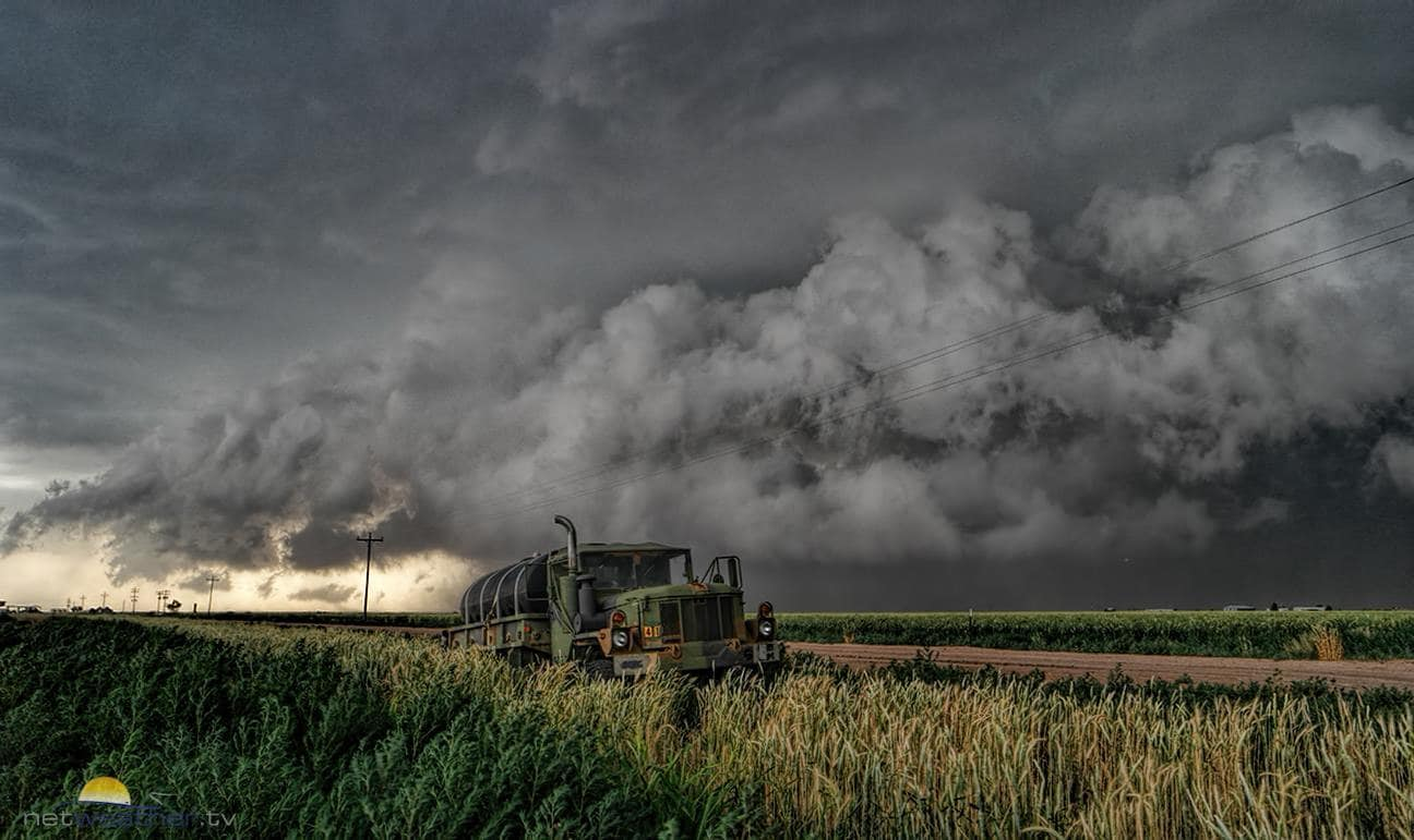 One from my final days chasing in western Texas, a 900 mile round trip, flooded roads and endless storms chasing us back to Dallas. A handily dumped truck in a field that minutes later was a lake.