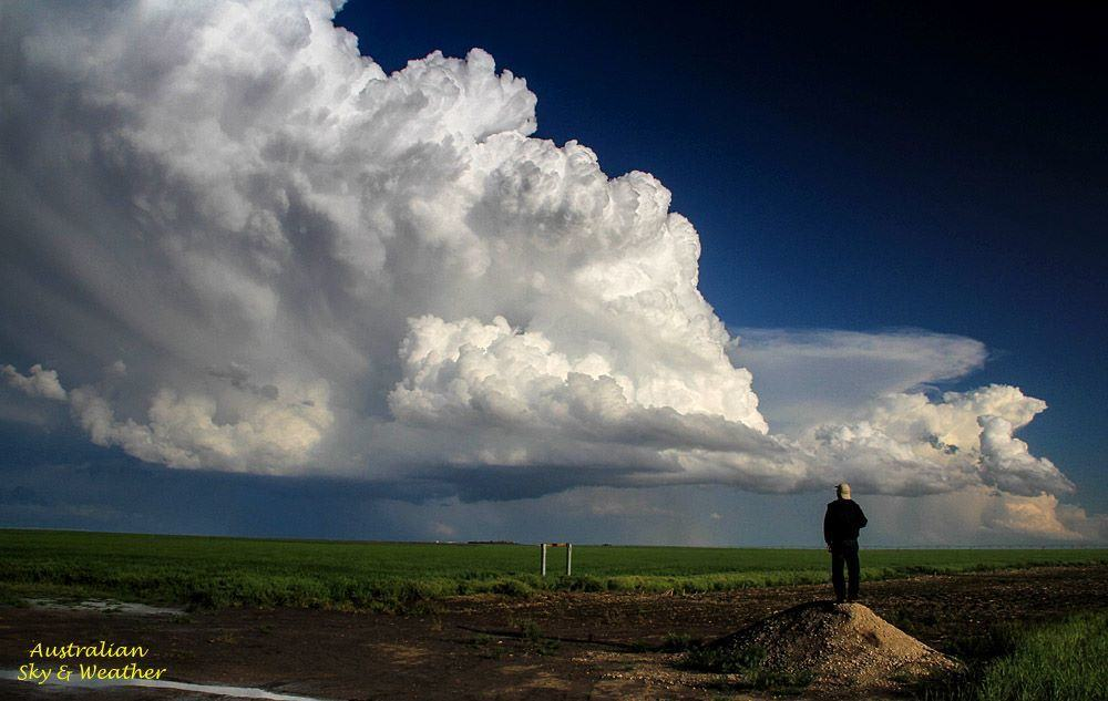 Standing on the highest point in Kansas can give give you a better vista of an approaching storm. North of Liberal, KS 9th May 2015