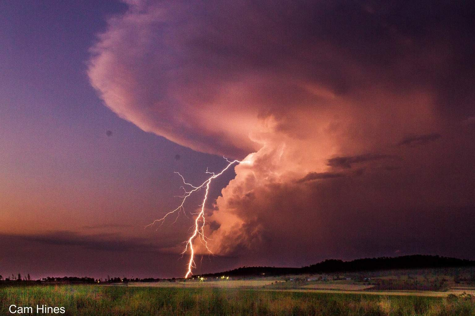 November 21 last year in Westbrook, Australia. It's always a rare treat seeing clear air lightning on sunset!