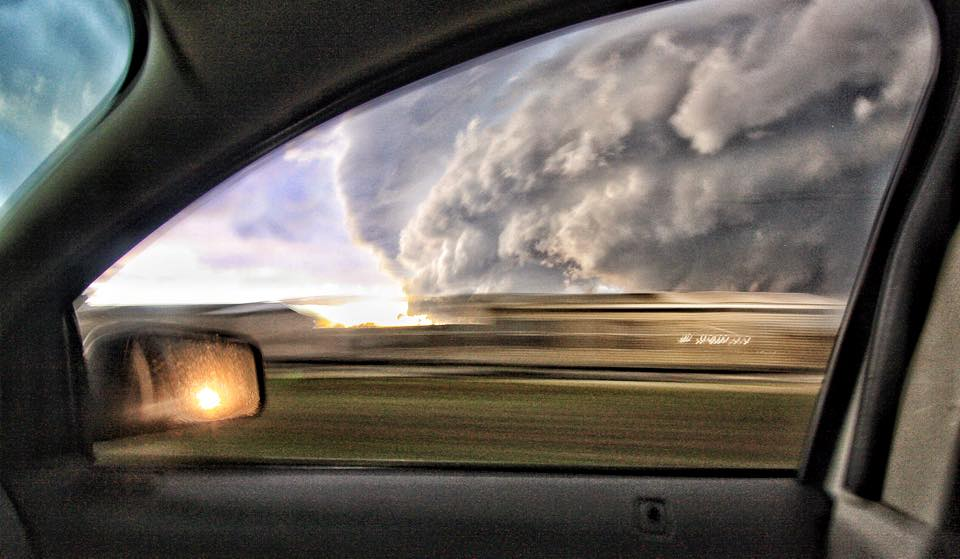 This supercell was charging south near Cushing, OK on March 25, 2015. It's one of my favorite storm photos because of how the car window frames the storm...and because the storm was pure eye-candy!