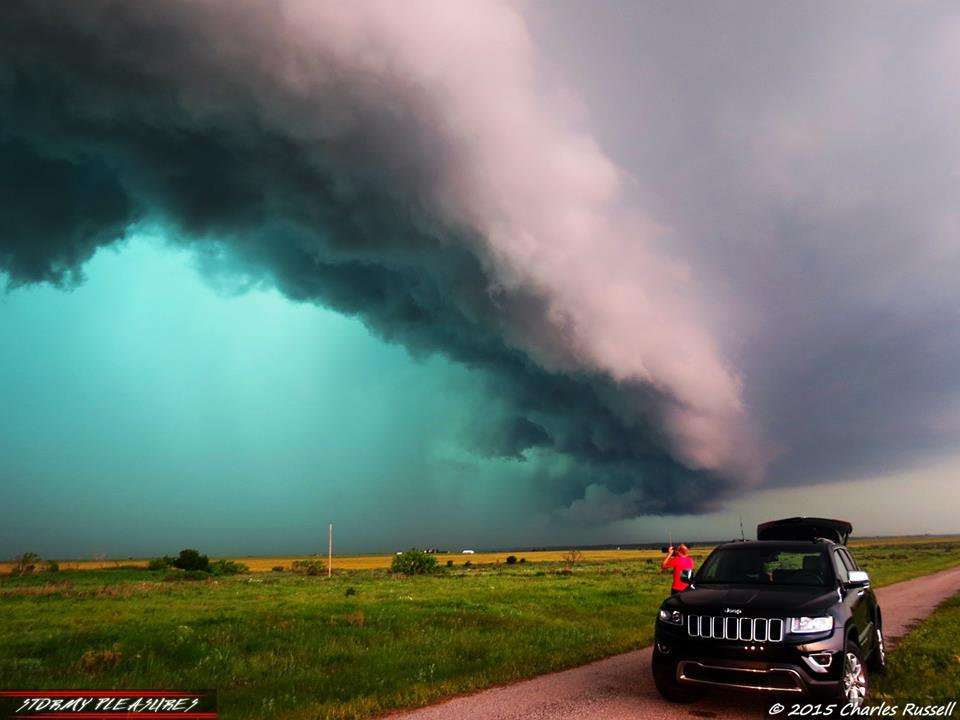 Massive HP Supercell in northern Texas, somewhere beyond Electra, TX. 5/8/15 Not the best of chase days, but we did manage to see some awesome structure. This is one of my best shots from the day. Chasers And The Storm. Really nice HP structure! Check out the color of that rain/hail core! Can't wait to get back out there later today and tomorrow!