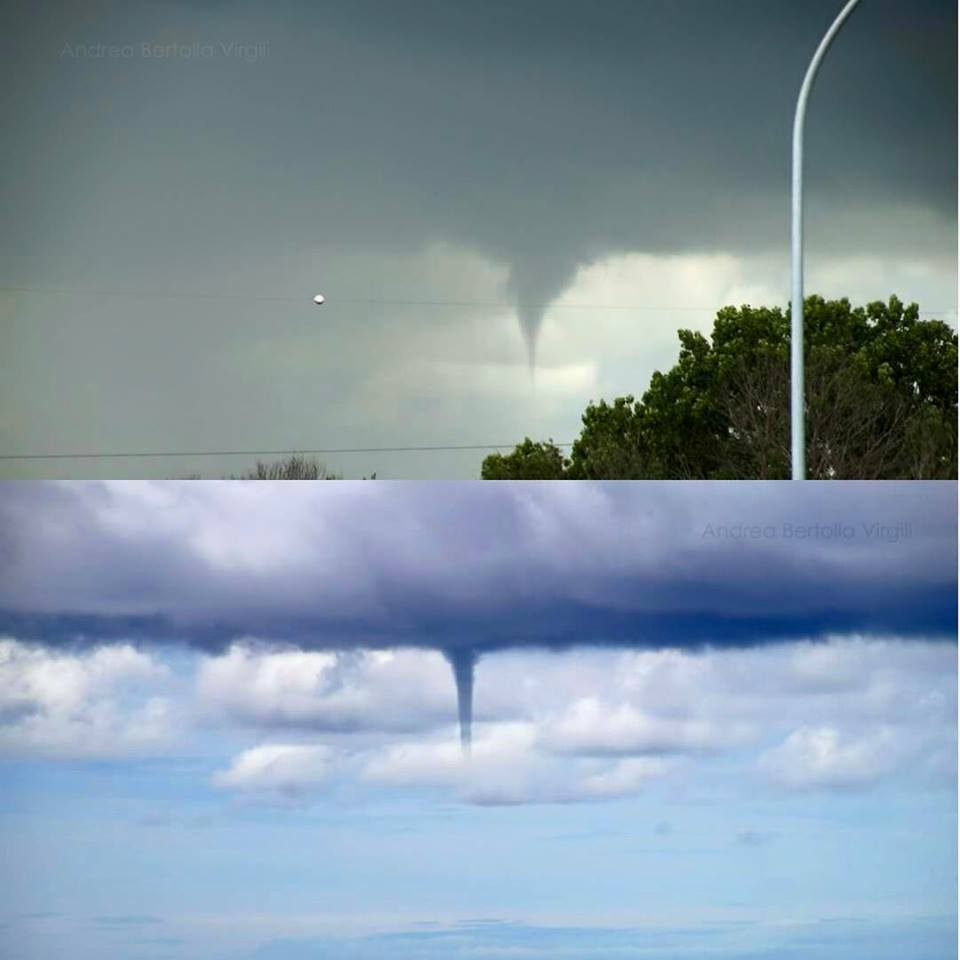 Two funnel clouds this morning in Tuscany... The first near Pisa, the second offshore, on the sea in front of Livorno (Italy)