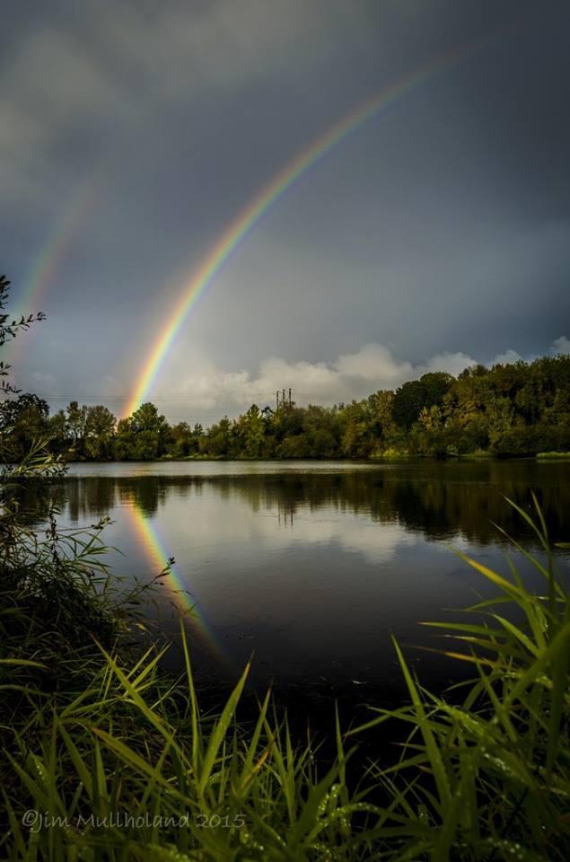 Rainbow over Freeway Lake near Albany Oregon.