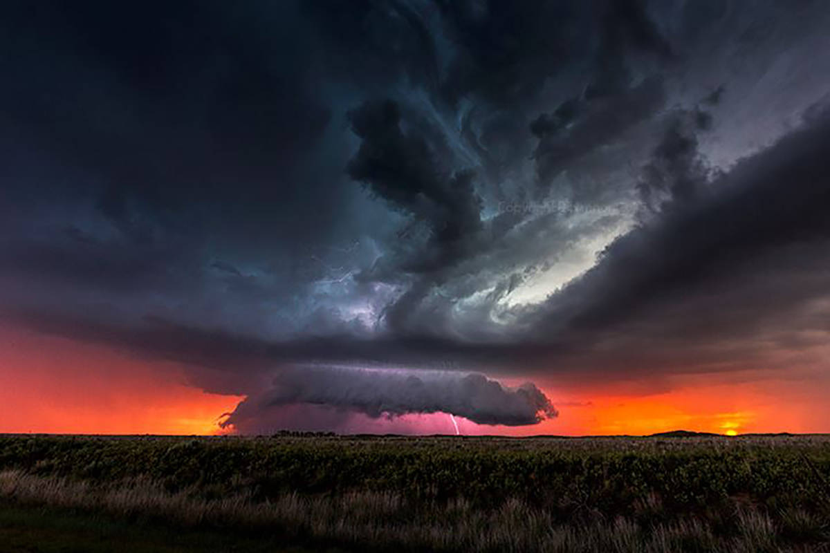 The best supercell at sunset scene I've ever witnessed! Near Milnesand New Mexico - May 29th 2015.