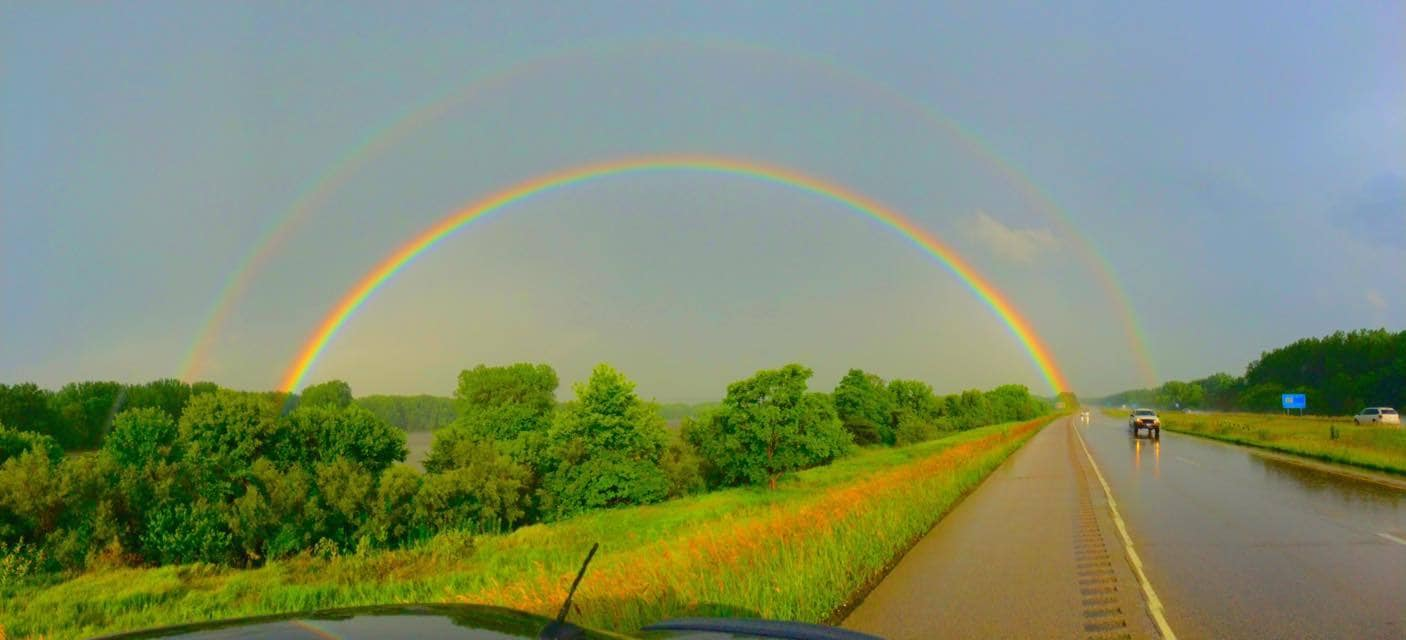 Double Rainbow Straddling the Illinois River near Bartonville, IL 06/24/2015