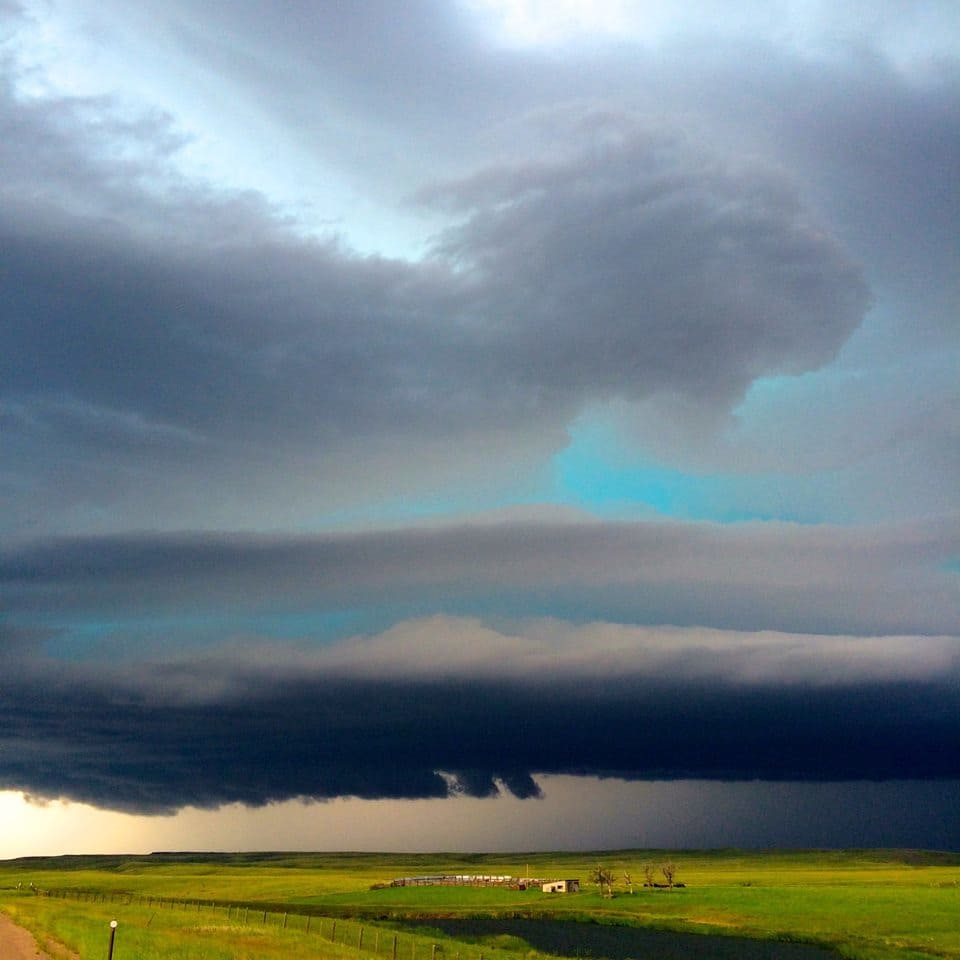 Cannot get over the green hue from the monster supercell near Belle Fourche, SD on 6/19/15