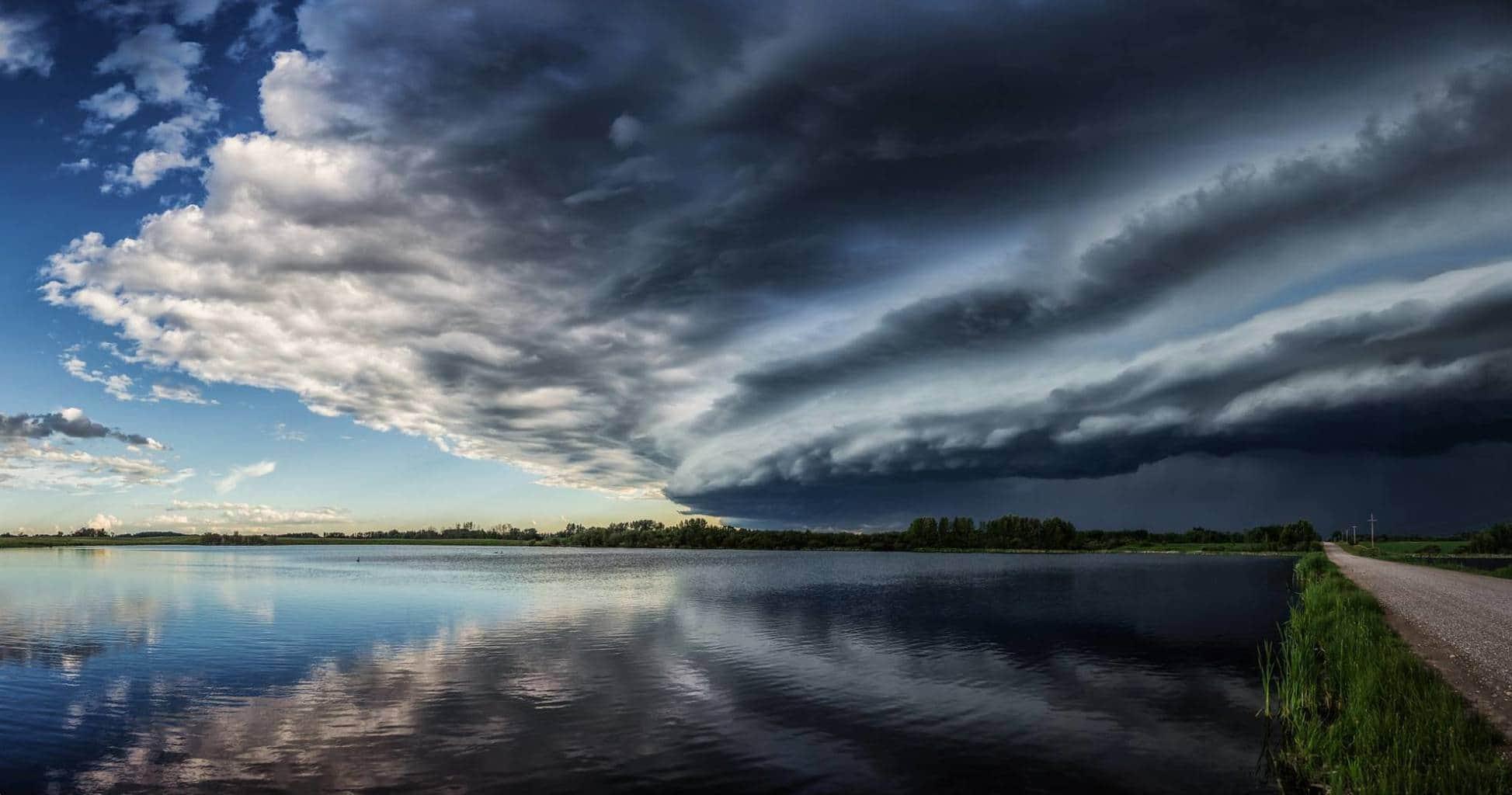 A shelf cloud pano from an evening storm near Red Deer, Alberta on June 19, 2015