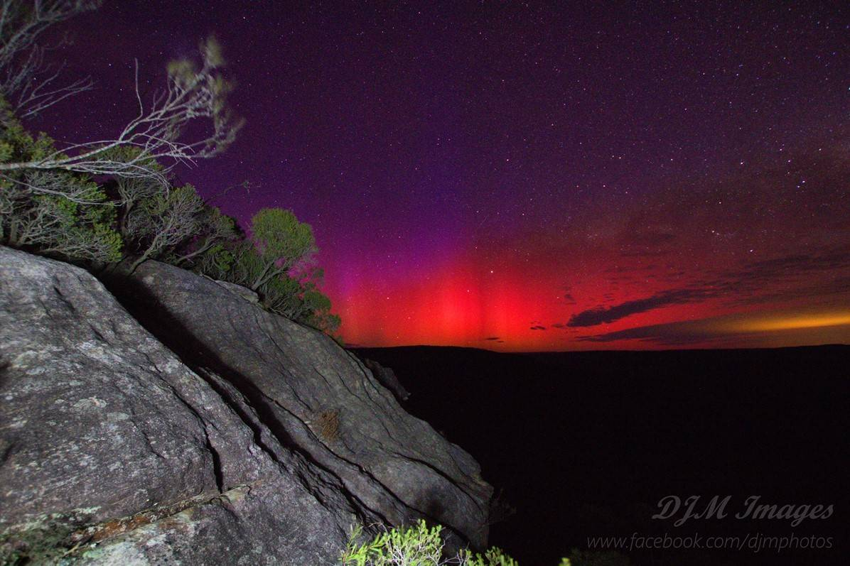 Space weather is weather right? This is a picture of the Aurora Australis taken from Bundanoon which has a latitude of 35d South!  Never thought I would see it so far north and so vividly too to the naked eye!