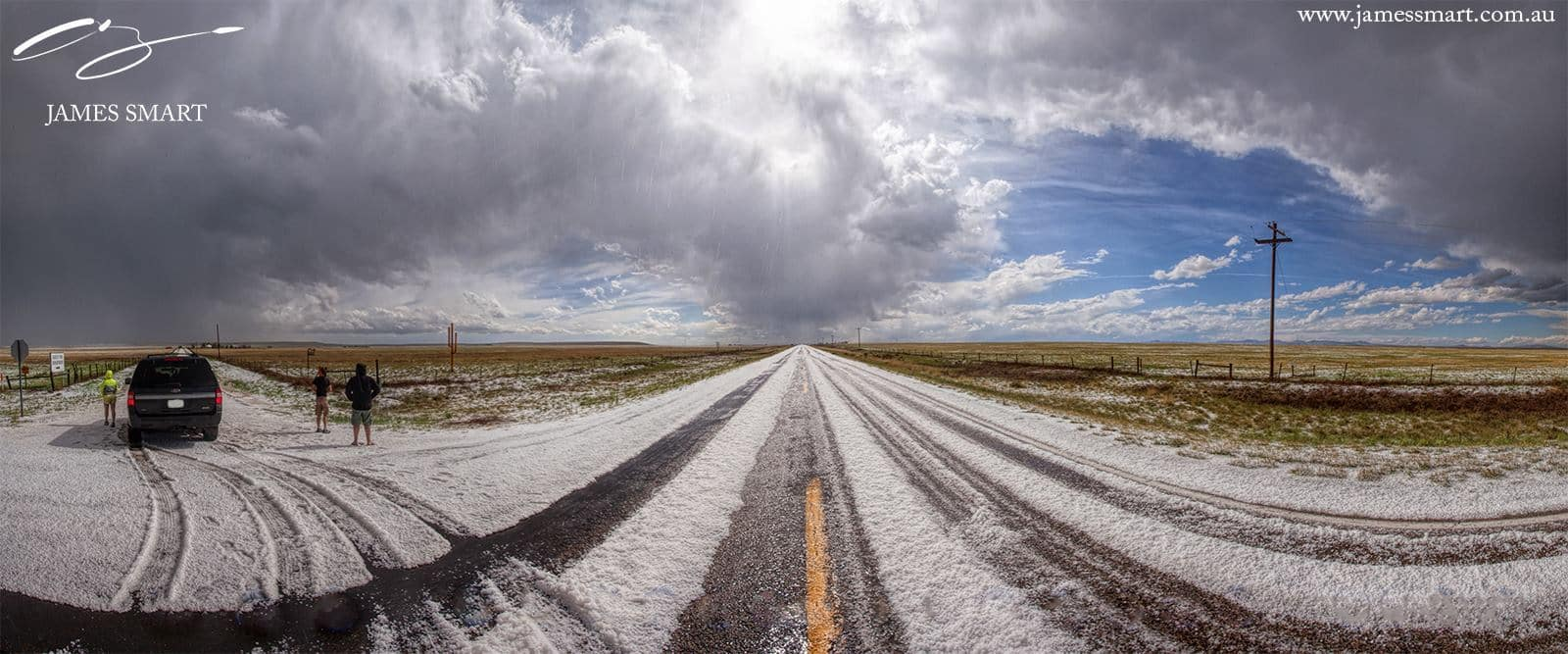 Huge amount of hail hit us near the town of Abbott, New Mexico yesterday. About 1.5 inch covered the roads and nearby fields.