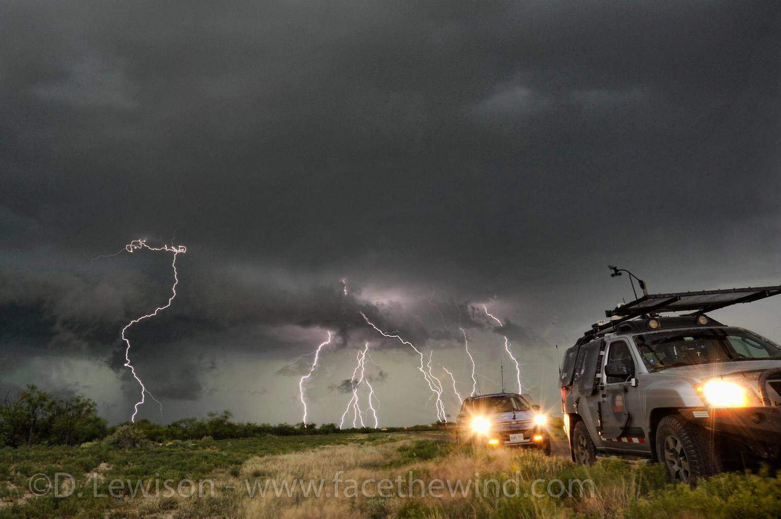 Multiple lightning strikes behind our storm chase vehicles, south of Pecos TX on May 18 2015.