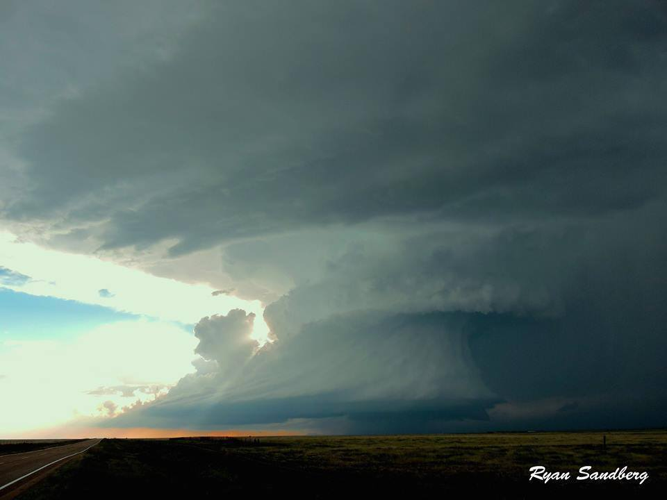 Sunset peaking around the amazing structured updraft of the Simla, Colorado supercell on June 4, 2015