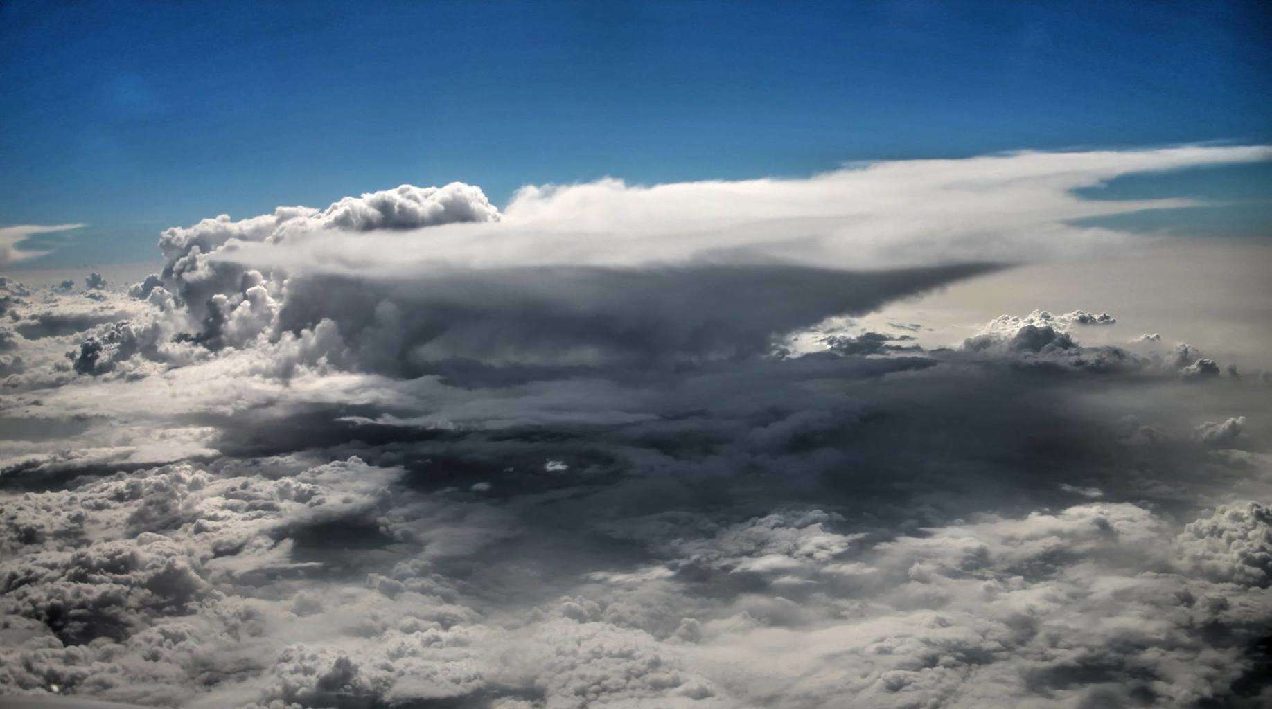 A tornadic Supercell from 35,000 feet. Little Different Perspective