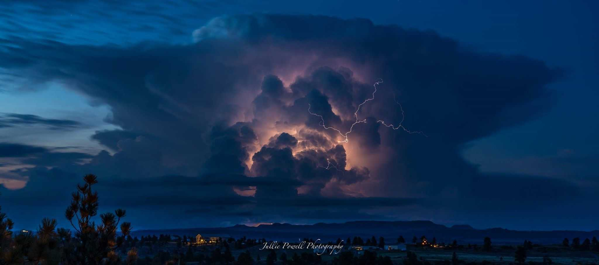 6/5/15 Cell with lightning over the Bull Mountains/Musselshell, Mt! This was moving away from me to the east, I got to sit in my backyard and capture this!