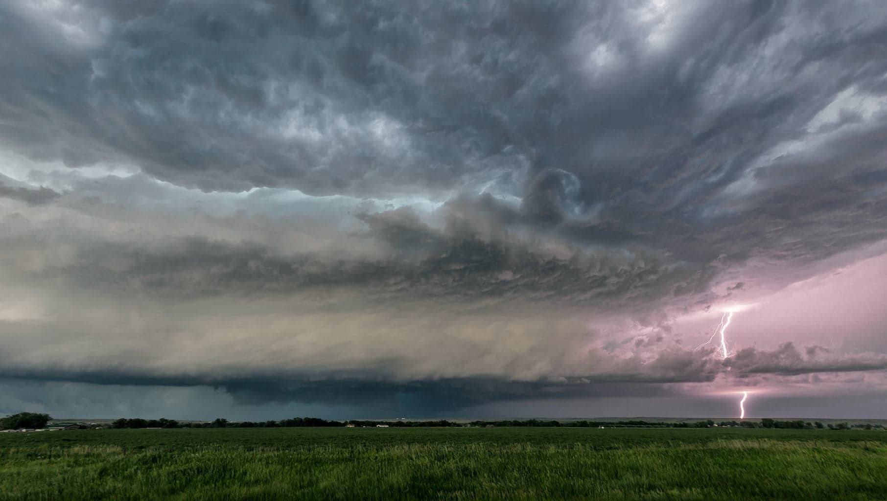 Super cell shot with lightning near Belle Fourche SD