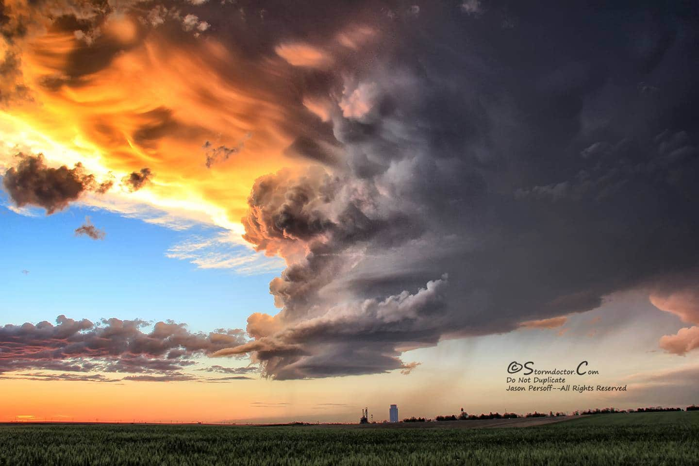 Amazing LP supercell at sunset near Gurley, OK, on 6/2/2015. Barber-poling and stunning colors.