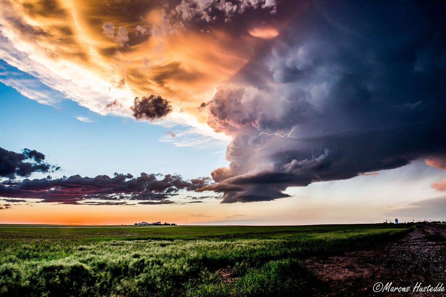 Low precipitation supercell at sunset just south of Dalton, NE on 6-2-15 with some intracloud lightning.