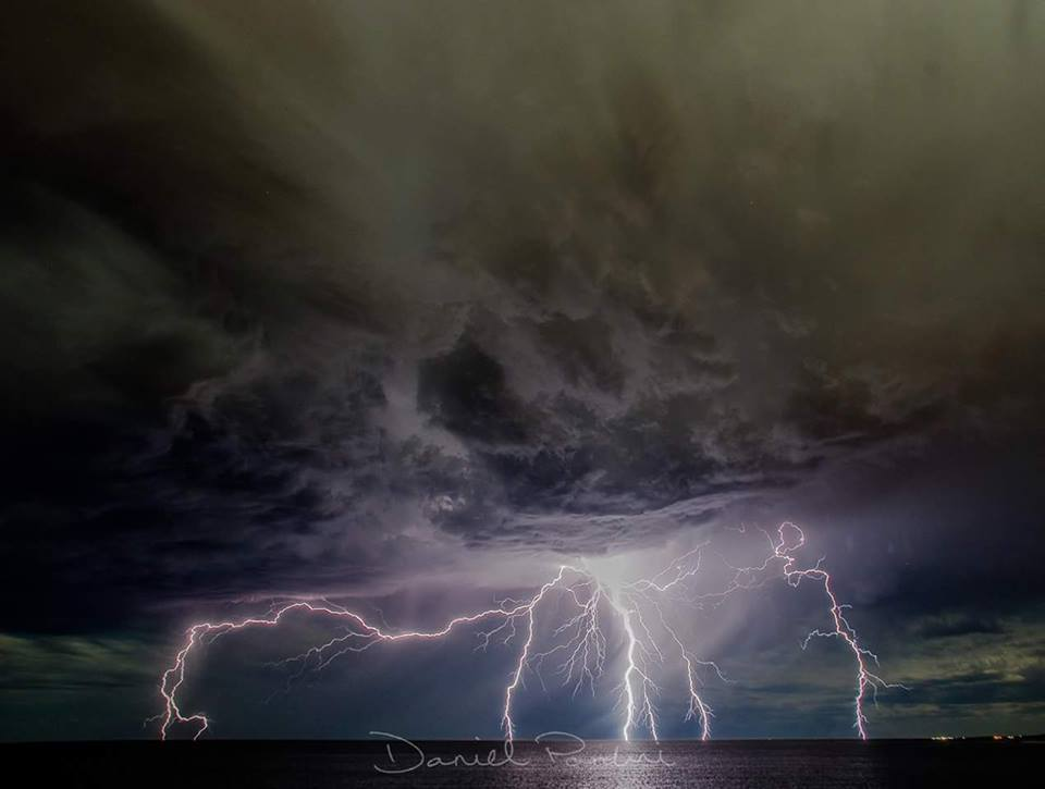 One big bolt, believe it or not. Taken around midnight along coast. Coastal lightning ⚡ storms are more common than a daytime storm in Perth, Australia.