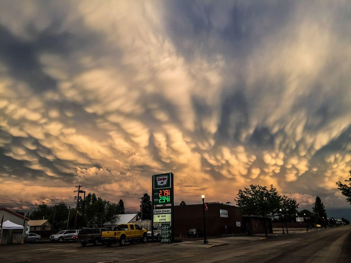 The second time this chase trip where I was eating dinner and came out of the restaurant and photographed an awesome mammatus display with my IPhone. Lusk, WY June 16.