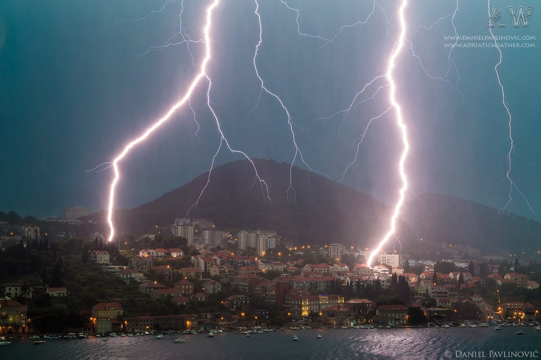 Severe thunderstorm in Dubrovnik, Croatia, 15 Jun 2014. Houses were damaged due to lightning strikes.  Croatian press about this thunderstorm with photo of damaged house: