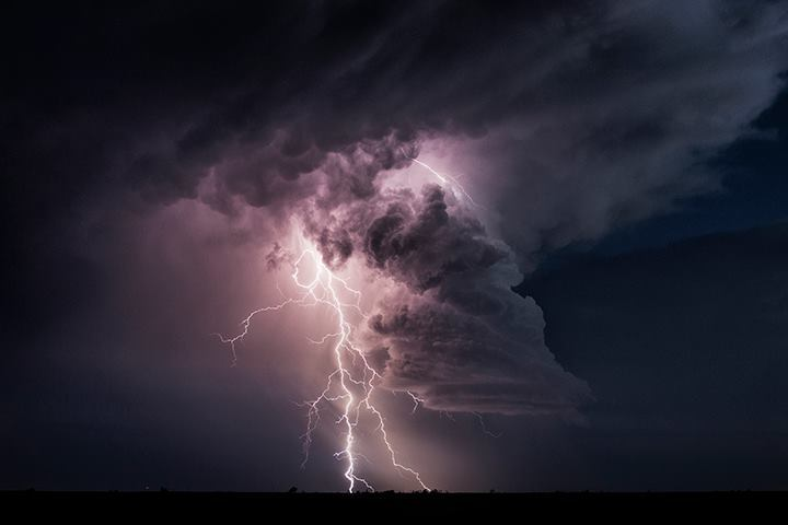 This little beauty produced four bolts like this one as it spun west of Lubbock, Texas on June 12th 2015.