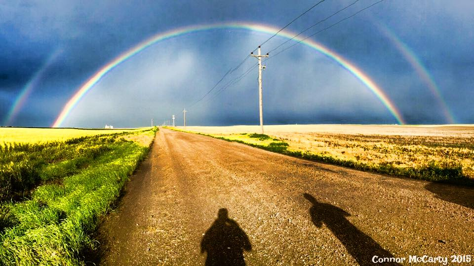 Not a supercell, not a tornado, but we just captured an incredible double rainbow near Colby, Kansas! Amazing.
