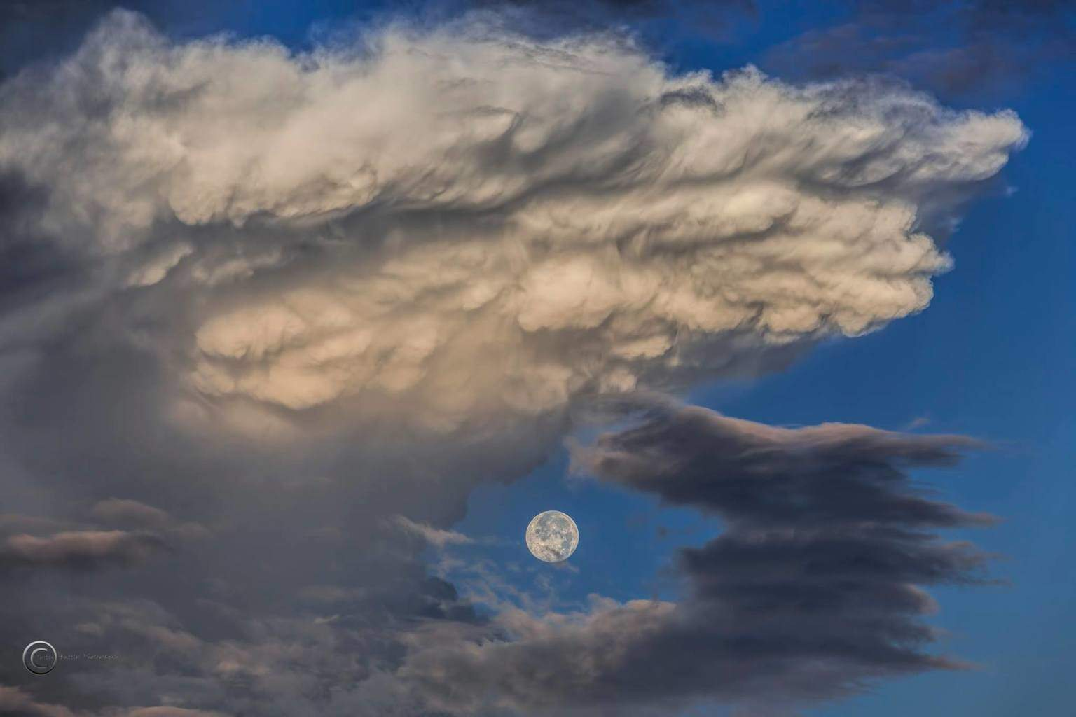 99.5% full moon through a dying thunderstorm off the coast of Tampa, Florida this morning