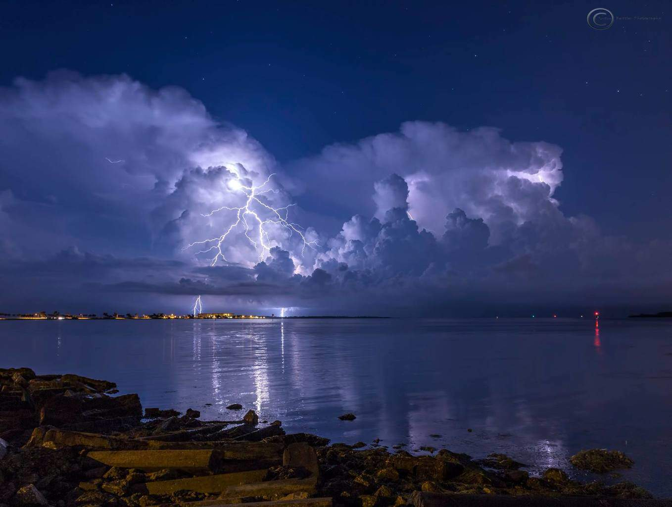A single frame from a time lapse I shot Wednesday night of two storms from the Dunedin Causeway overlooking Honeymoon Island State Park in Florida
