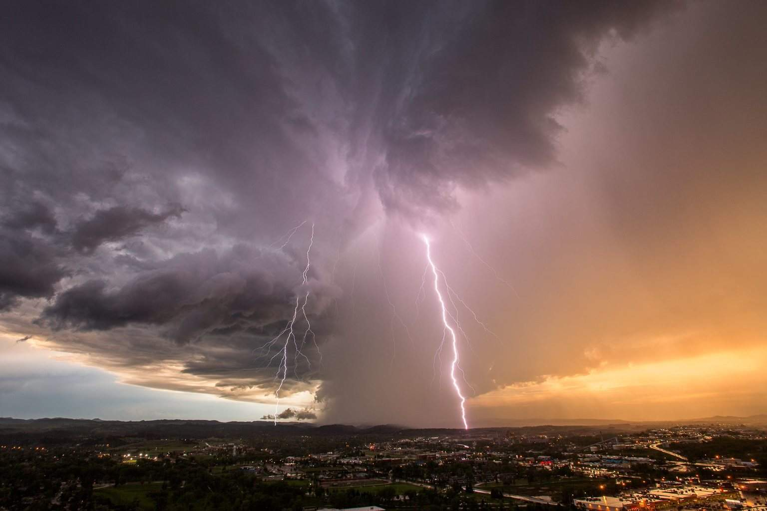 Rapid City, SD...June 1st. What an incredible supercell early on, but as it was dying out the lightning display was amazing.