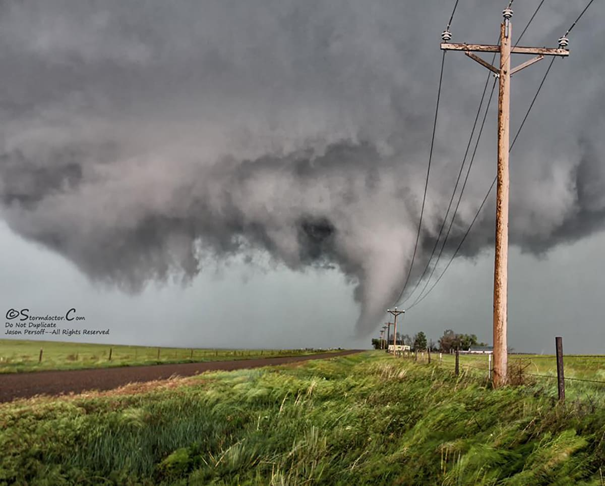 Hunting needles (or in this case cones) in the haystack of precip, this tornado north of Stratton, CO, on 6/5/2015 touched down from a violently rotating wall cloud