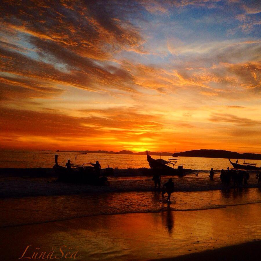 Explosion of colors ,  Sunset in krabi (Thailand) November 2014 — at Krabi Island Beach.