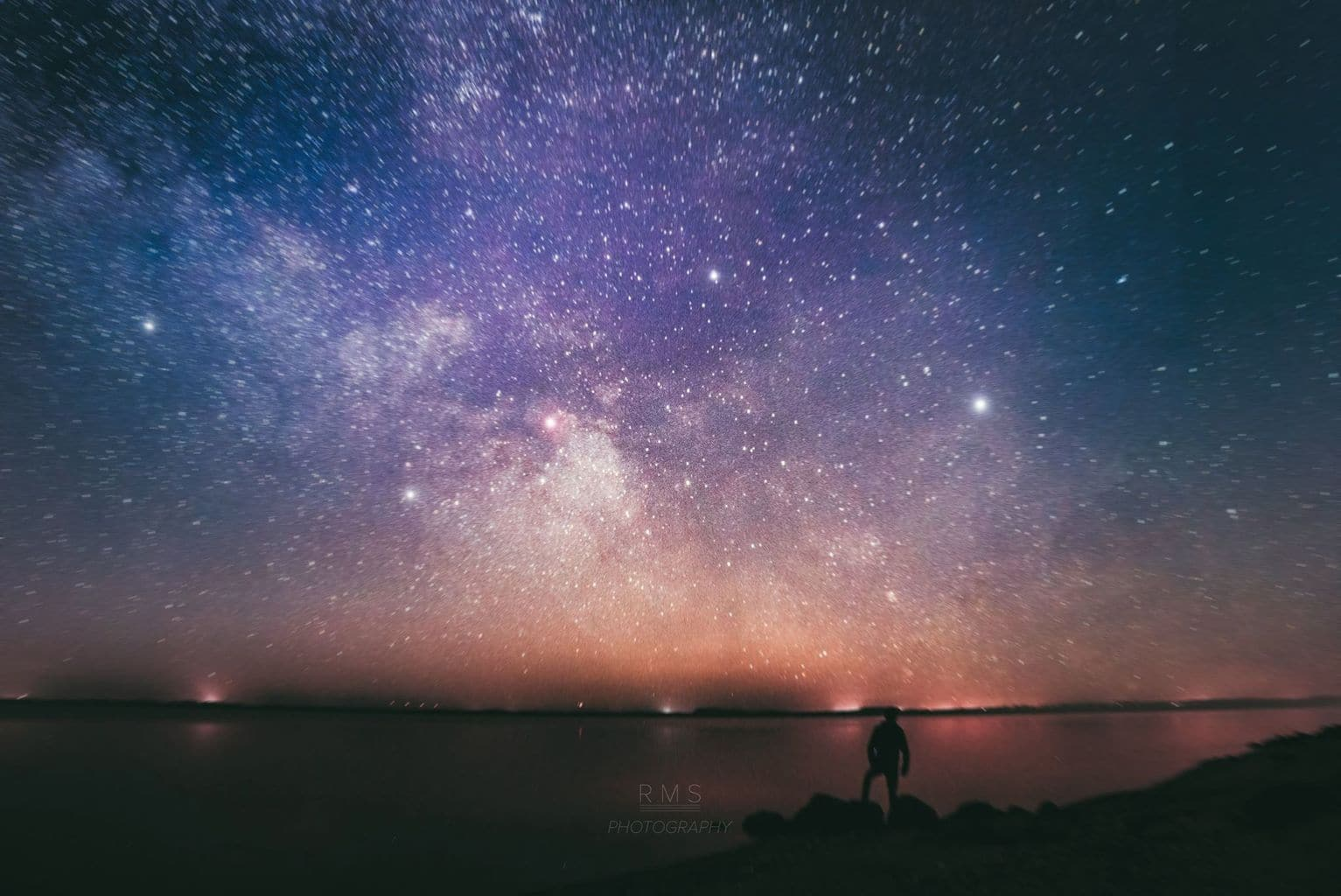 A journey through space and time. Beautiful Milky Way rising above Limfjord, as seen from small city, Nykøbing Mors in western Denmark. Foreground: 30 seconds, f/2.8, ISO 1600 The sky: 141 seconds, f/2.8, ISO 2000, tracked with iOptron skytracker Taken with Canon EOS 7D + Samyang 14mm A good TBT during midnight sun