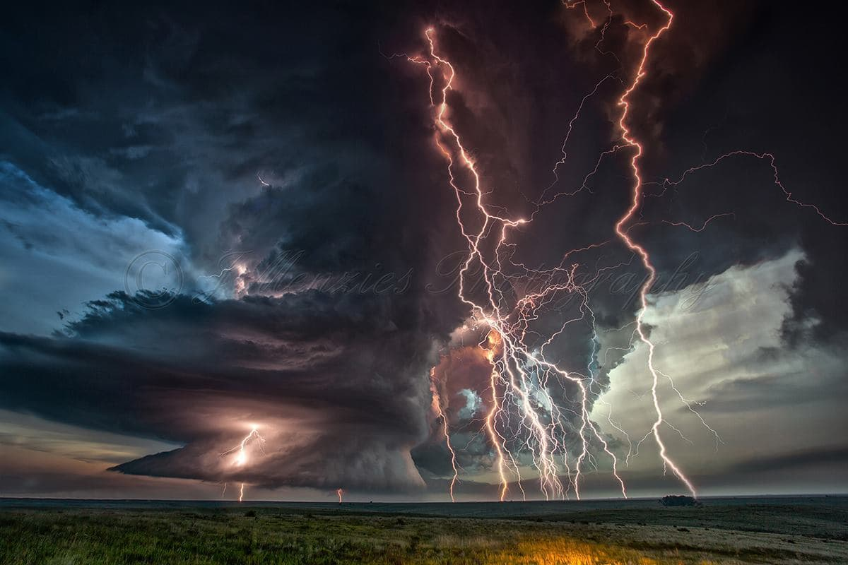 So, i decided to spend some time on a lightning stack for the Seldon, KS storm from last week (5th June 2015). Took me over an hour to create. The lightning in this storm was absolutely INSANE and to date i have never caught so many bolts from an LP Supercell. So here is the stack that i did. 10 images in all using a single base image of the Supercell so as to limit the ghosting effect that usually occurs with the stacking process. Needless to say im THRILLED with the outcome. Enjoy