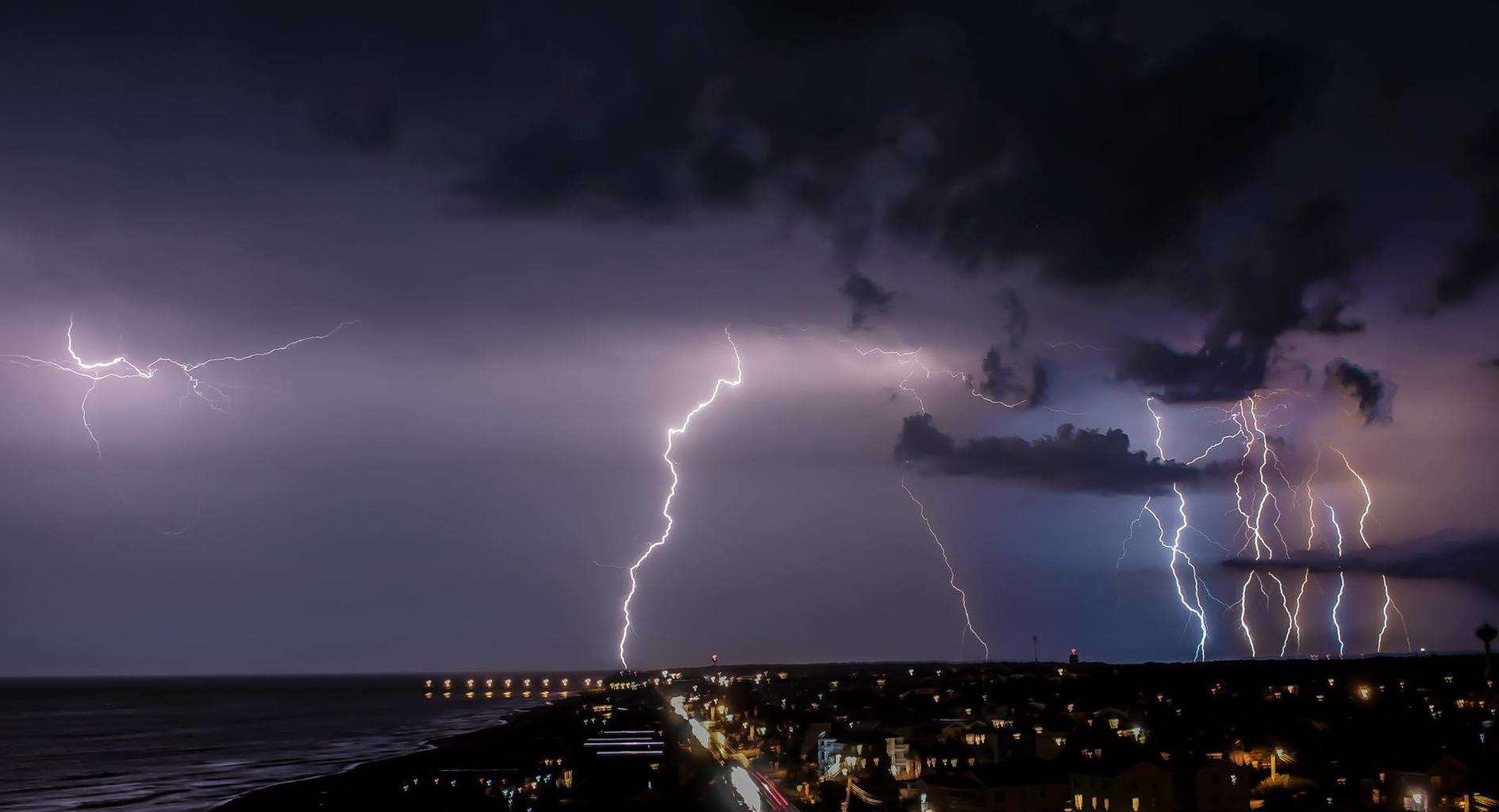 Taken on June 24th, 2015 in Carolina Beach, NC, as an electrifying thunderstorm passed by.