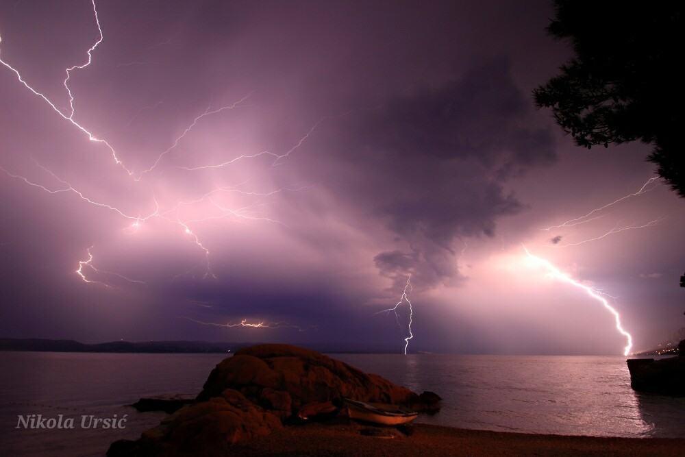Incredible night with few hour non stop lightning strikes.photo taken 08.06.2015 Brela Croatia.
