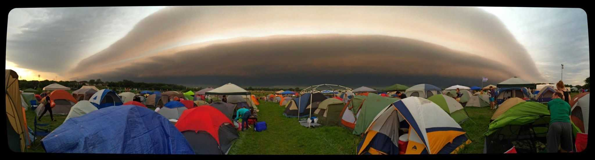 Our wake-up call in tent city at the Gentleman of the Road Tour in Waverly, Iowa on June 20, 2015.