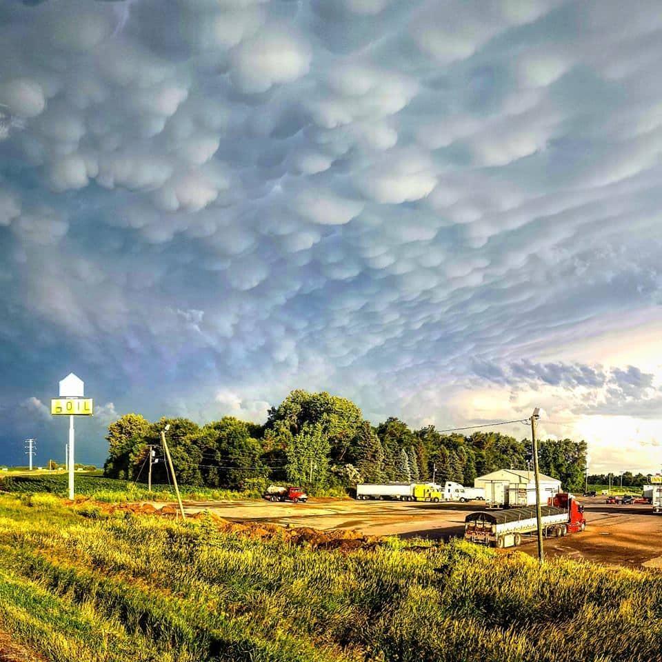 Mammatus formation near Barnesville, MN on July 12, 2015.
