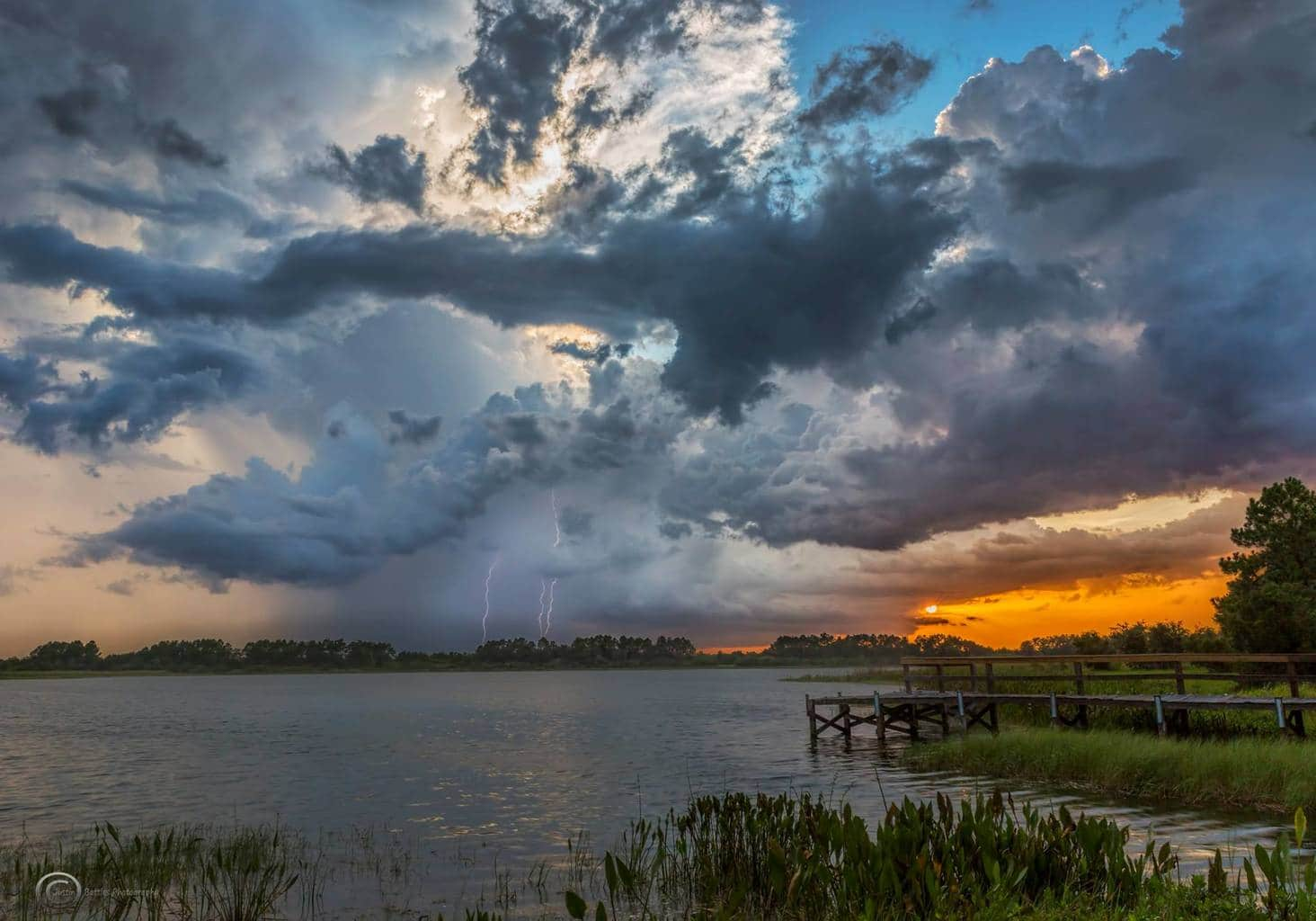 Some lightning right at sunset at Hardee Lakes Park in Bowling Green, Fl this evening