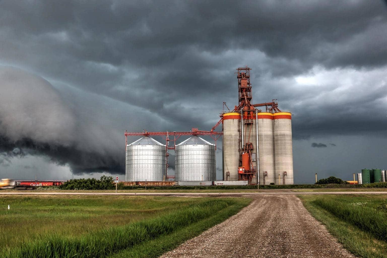A prairie storm bares down on these modern prairie giants