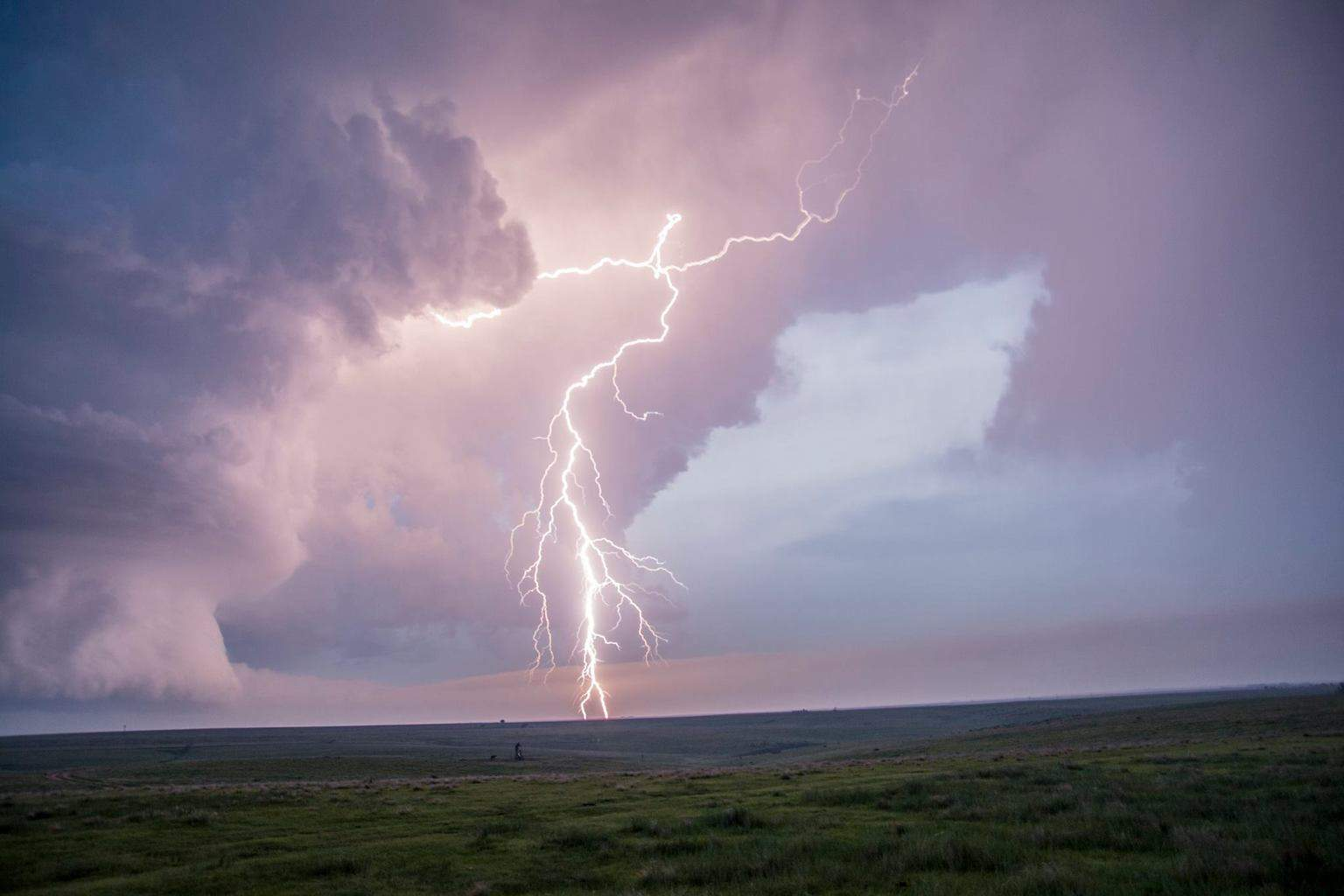 BAM KABOEM!!!! Lightning strike in front of me...; The picture was taken handheld without a tripod.... This was 1 of the cells i saw on June 4, 2015 near Atwood, Kansas