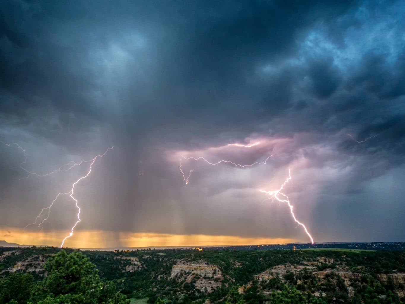 Lightning at sunset from Colorado Springs. 6-28-15