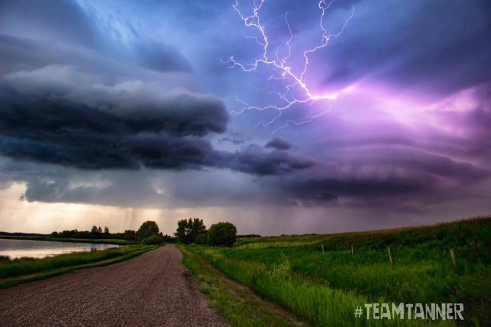 Central Alberta July 16. Two cells joining together and captured a Cloud to air lighting bolt!