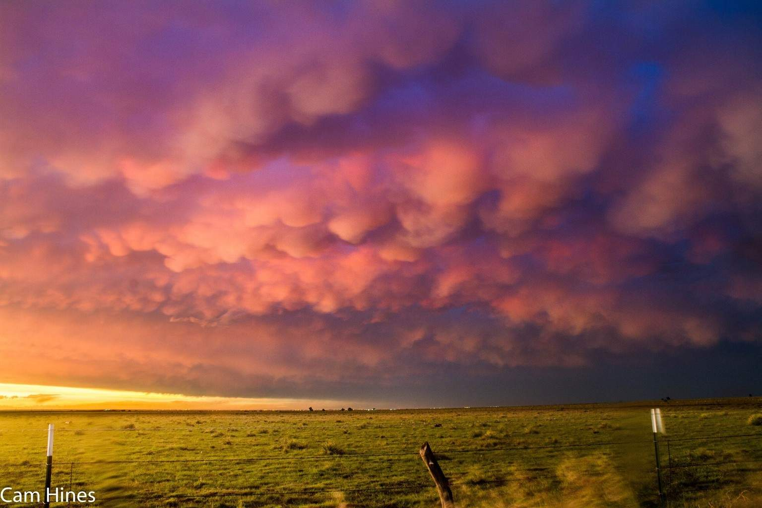 May 30 in Dora, New Mexico. We never saw the tornado this storm produced but we were still treated to this awesome Mammatus sunset!