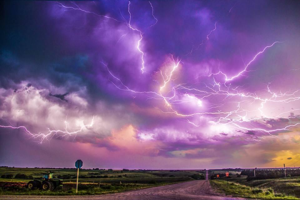 Stacked Nebraska Lightning July 10, 2015 Northern of Arapaho Nebraska