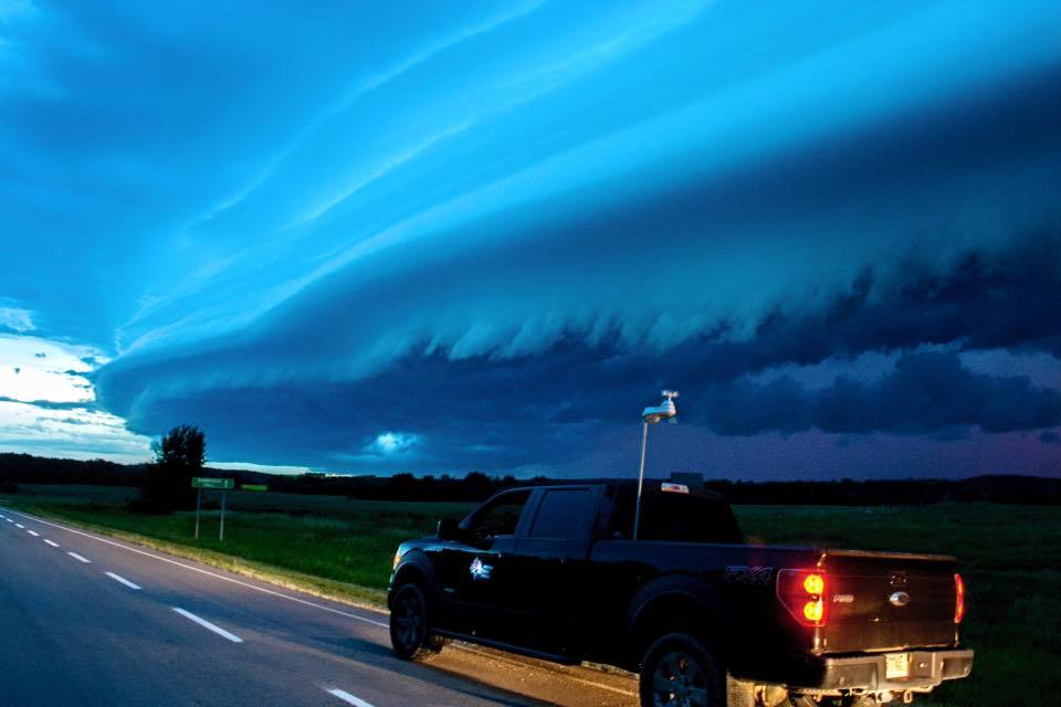 Beautiful shelf cloud near Pigeon Lake, Alberta on 20/07/14. Chased this beast for 3 hours, as her shelf changed shapes and colors