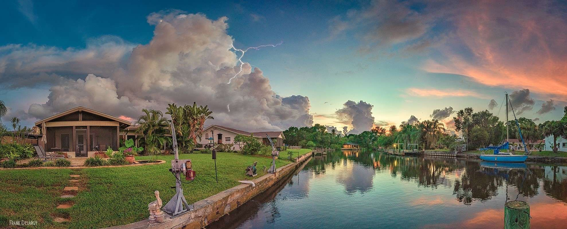A couple of evenings ago we had an interesting sunset with red/pink clouds and a storm brewing at the same time. I took this 6 image ,180 degree pano as the storm was just ramping up