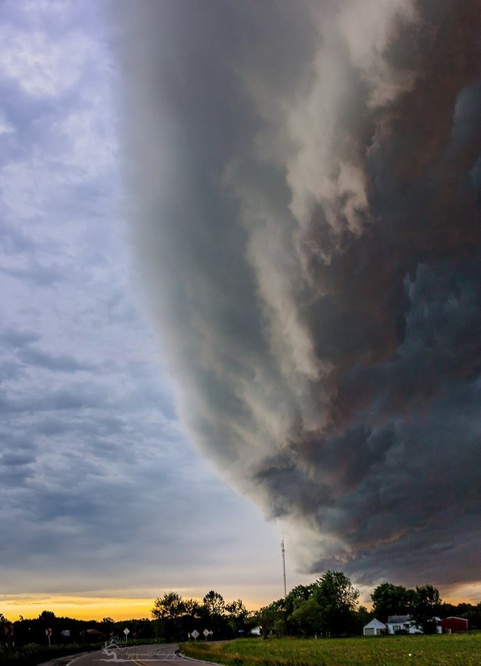 Another view of the super cell that crossed over several states. This storm was definitely long lived. This vertical pano was taken in Staunton Illinois.