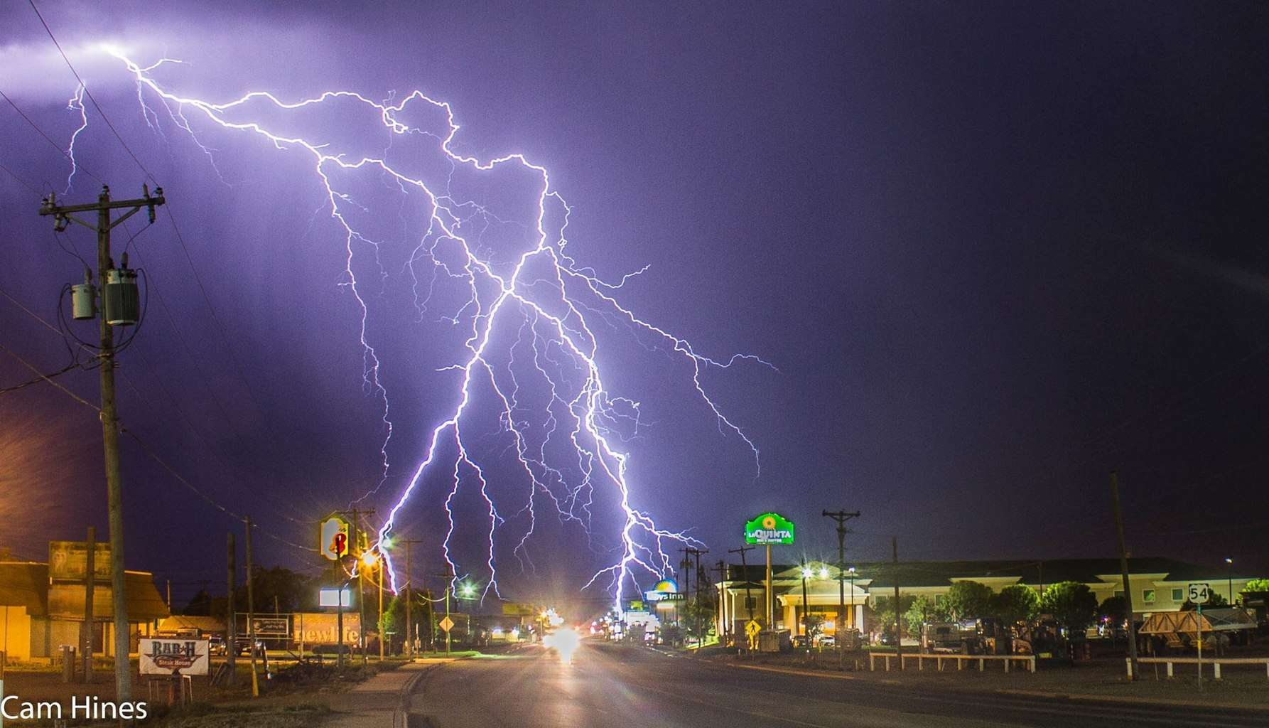 May 29 in Dalhart, Texas. This incredible display of angry CG lightning moved right through the centre of town itself!