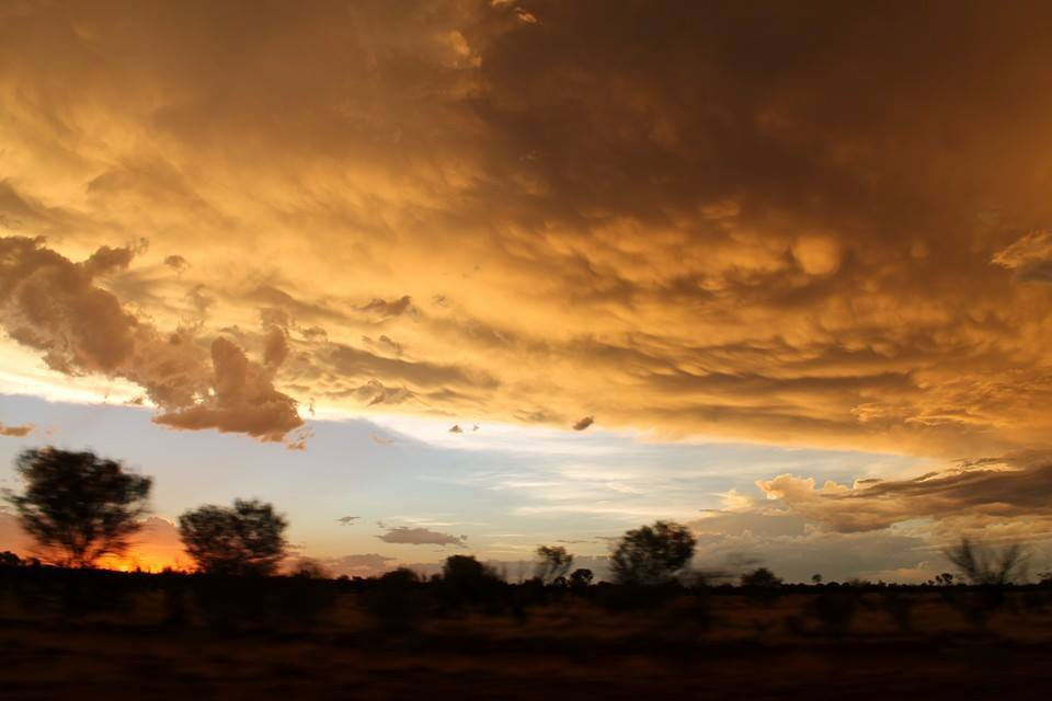 Some nice mammatus and a beautiful sunset on a slowly dying storm earlier this year. Other parts of the storm were displaying quite prominent mammatus clouds. Can't remember seeing them around town in the 21 years I've lived in Alice Springs, NT Australia. Enjoy