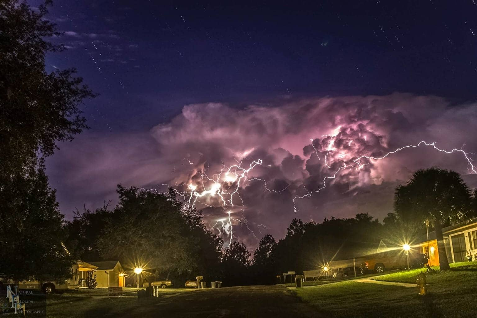 Lightning and star Trails. Citrus Springs, FL 7/7/15 5 image composite
