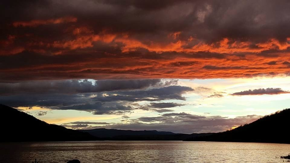 Last night 20 min before it rained for 3 hours at the lake...the sky was on fire Lake Granby Co